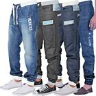 ENZO Mens Cuffed Jeans Regular Leg Casual Denim Jogger Pants All Size Sale