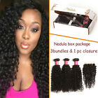3bundles 300g Brazilian Curly Human Hair Wefts Weaving with 1PC 4*4 Lace Closure