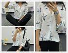 Women's Starfish Cool Casual Chiffon Loose Long Sleeve T Shirts Tops Blouses