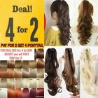 Claw ponytail clip in hair extension curly wavy Barbie blonde red brown Ash