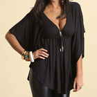 Women Sexy Loose Sleeve Tops Ladies Summer Solid Blouses Shirts Plus Size