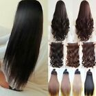 UK Real 3/4 full head clip in hair extensions curly straight one piece Black red