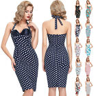 WOMENS SEXY VINTAGE WIGGLE PENCIL 50S FLORAL/POLKA DOT PRINT EVENING PARTY DRESS