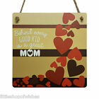 Mothers Day Gifts Plaque sign for her vintage chic present Behind every great