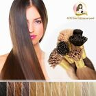 "20"" DIY Indian Remy Human Hair I tips micro beads Ring Extensions #6 Light Brown"