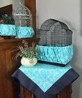 NEW Handmade Aqua Fabric Bird Cage Skirt Seed Catcher Guard or Cover XS-XXL