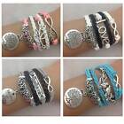 Infinity Bracelet Pink Blue Black White Butterfly Tree of Life Charm Love