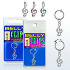 Clip On Navel Fake Illusion Clips Belly Button Jewelry No Piercing Treble Clef