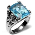 Aquamarine CZ Stainless Steel Ring Antique Style Celtic Size 6