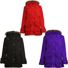 New Girls Kids Cotton Jacket Coat Hooded Toggle Fleece Duffle Age 7-13 Black