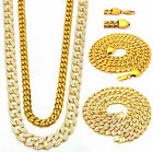 MENS MICRO CROSS 3 CHAINS SET GOLD FINISH MIAMI CUBAN LINK NECKLACE ICED OUT NEW
