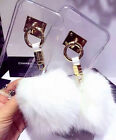 Cute Furry Rabbit Fur Ball Clear Transparent Back Case Cover For Various Phones