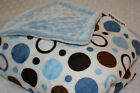 Lil' Cub Hub, Multi-Purpose Boy Minky Blanket - Blue Brown Circles