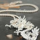 Vintage Chinese Dragon Pendant Rhinestone Crystal Jewelry Sweater Necklace Q1A3