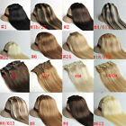 """New Clip In Remy Human Hair Extensions Full Head 15""""Straight Black Blonde Brown"""