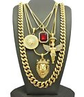 MENS ICED OUT KING LION ANGEL MEDALLION RED  PENDANT CUBAN CHAIN 5 NECKLACE SET