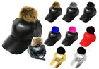 NEW HOT FAUX LEATHER FUR POM POM BALL ADJUSTABLE SIZE BASEBALL CAP HAT - PM3041