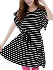 Women Self Lace Up Stripes Loose Dress w Waist String