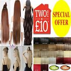 UK Seller hair extensions one piece Clip in half full head real synthetic brown