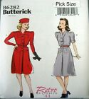 Butterick Sewing Pattern 6282 Retro 40s Ladies Tailored Shirt Dress Pick Size