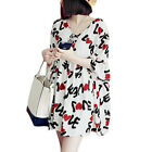 Women V Neck Letters Prints 3/4 Sleeves Unlined Casual Dress