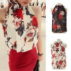OL Floral Halter Blouse Women Sleeveless Tops Chiffon Office Work T-shirt Shirts