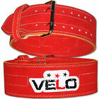 VELO Weight Lifting 4 Leather Belt Gym Power Back Support Strap Training Fitness