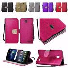 For ZTE Grand X3 Z959 N9519 Shiny Premium PU Leather Bling Wallet Cover Case