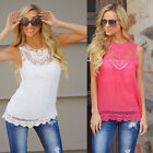 Summer Women's Sexy Sleeveless Chiffon Lace Vest Tank T-shirt Casual Blouse Tops