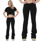 New Ladies Womens 60s 70s Bellbottoms Black Flared Bootcut Stretch Hipster Jeans