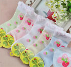 5 Pcs Packed Girl Children's Strawberry Casual Cotton Short Socks 2-12 years old