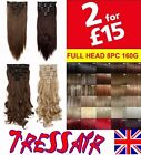 Black Blonde Hair Extensions Clip in Straight Full Head soft as Human Synthetic