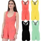 Women's Racer Back Sleeveless Chiffon V Neck Lined Ladies Party Shorts Playsuit