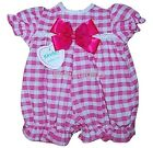 Baby Girl All in One Bow Checked Summer Playsuit/Romper Newborn 0-3 3-6 Month