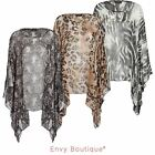 Ladies Womens Animal Paisley Print Chiffon Cape Top Boho Poncho Dress