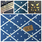 Clarke & Clark Dotty Spot Fabric Denim Pin/Memo/Notice Board Cork SMl LG XL
