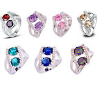 Fashion Jewelry Women Multi-colored Gemstones Silver Ring Size 7 8 9 10 11 12 13