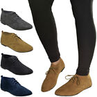 Womens Ladies Suede Lace Up work Casual Comfort Shoes Girls Flat Pumps Size UK