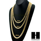 """Miami Cuban Yellow 14k Gold Plated 7 - 10mm wide 24"""" 30"""" 36"""" Curb Chain Necklace image"""