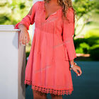 Summer Sexy Women Long Sleeve Party Evening Cocktail Casual Solid Red Mini Dress