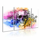 Skull With Flowers Canvas Modern Wall Art 3 Panels