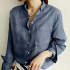 NEW Women's Ladies Loose Long Sleeve Casual Cotton Shirt Tops Fashion Blouse