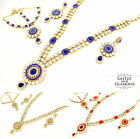 LONG MALA PENDANT NECKLACE, EARRING & MATHA PATTI SET INDIAN BOLLYWOOD BRIDAL