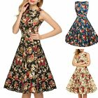 Women Retro Audrey Hepburn Style Floral Print Sleeveless A Line Swing Dress S-2X