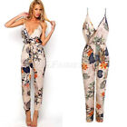 NEW WOMENS LADIES V NECK FLORAL PRINT STRAPPY TROUSER LOOK ALL IN ONE JUMPSUIT
