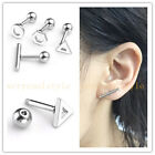 8pc 16G Steel Triangle Hexagon Barbell Ear Cartilage Helix Tragus Studs Earrings