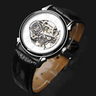 New Fashion Men's PU Leather Band Watch Mechanical Transparent FLENT