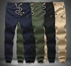 Men's Casual Drawstring Jogger Fit Cotton Mid Rise Trousers Sport Joggers Pants
