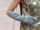 "40cm(15.75"") long fashion suede leather evening elbow gloves grey color"