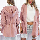 Women Fashion Hooded Long Coat Jacket Trench Windbreaker Parka Outwear